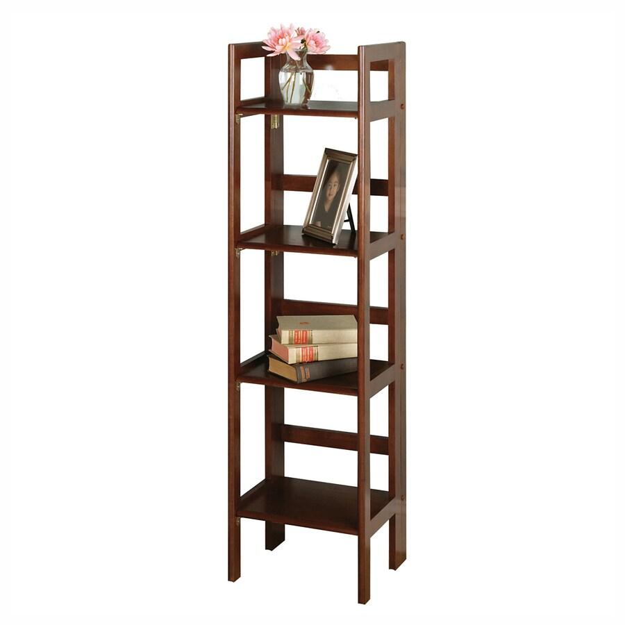 Winsome Wood Antique Walnut 14-in W x 51.5-in H x 11.5-in D 4-Shelf Bookcase