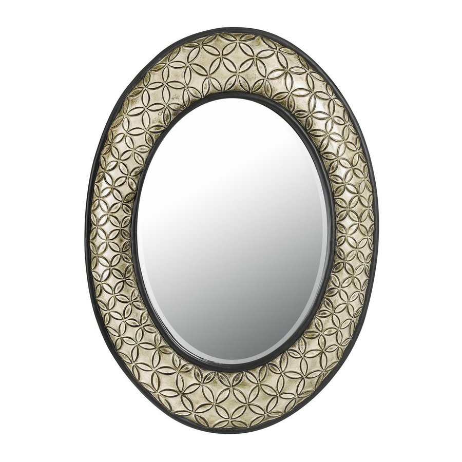 Shop cal lighting 24 in x 32 in argent beveled oval framed for Oval wall mirror