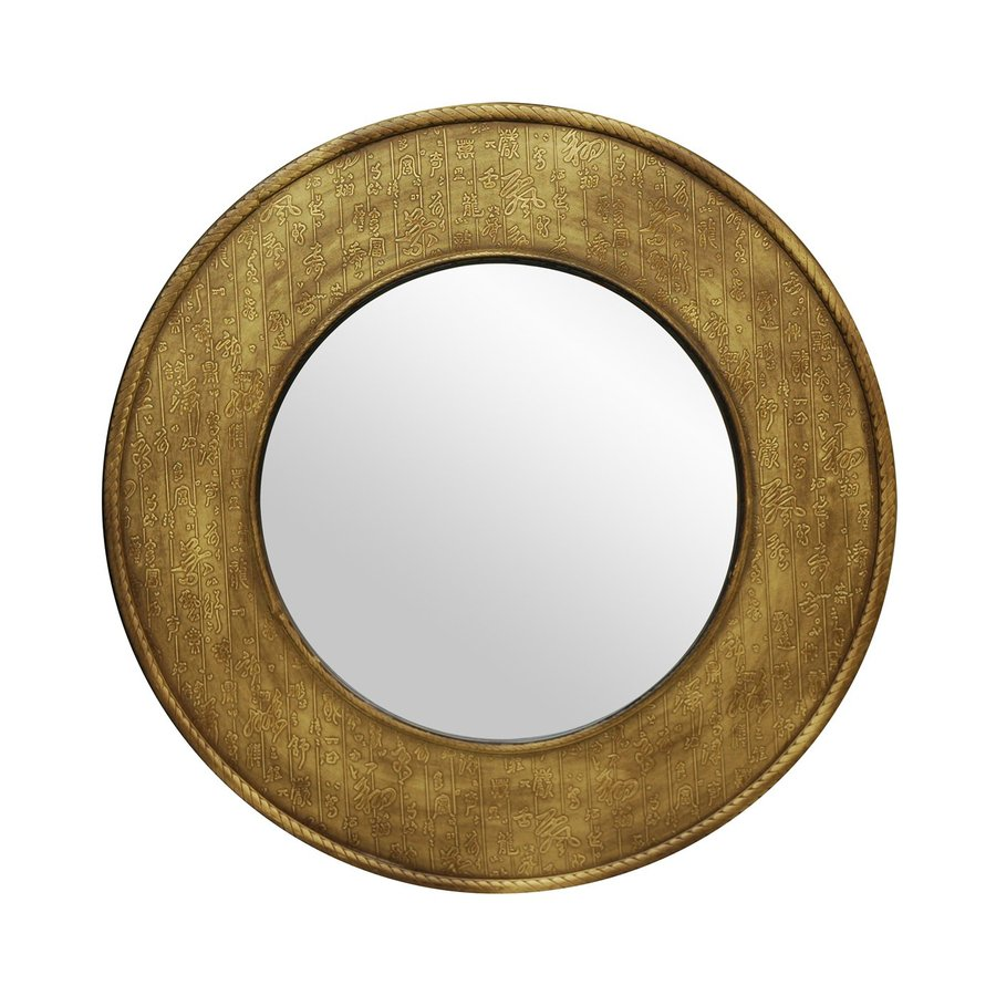 Oriental Furniture Calligraphy 32-in x 32-in Gold Polished Round Framed Wall Mirror