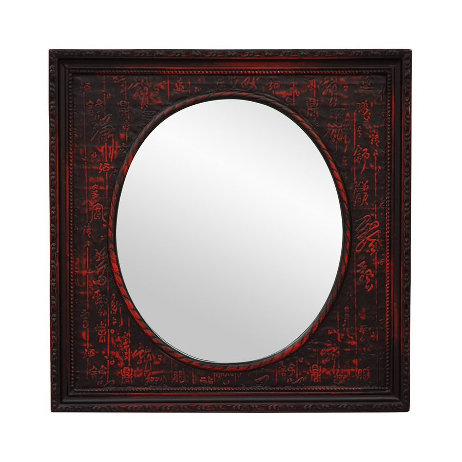 Oriental Furniture Chinese Art Design 17.5-in x 17.5-in Red Distressed Lacquer Polished Square Framed Wall Mirror