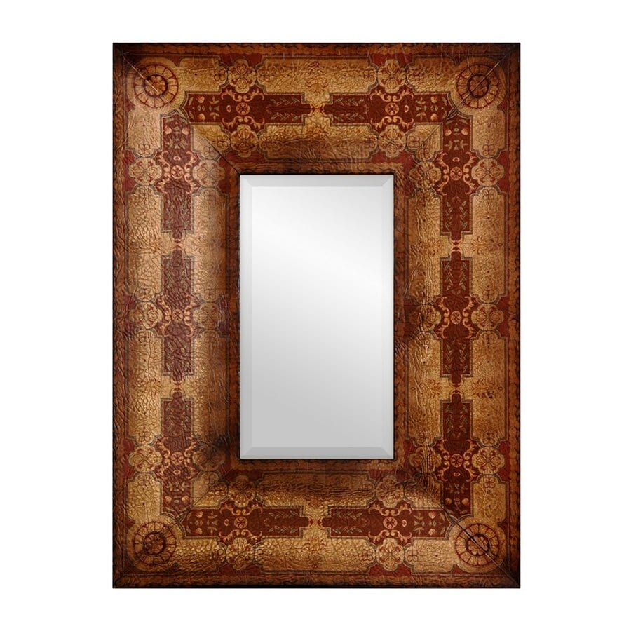Oriental Furniture Olde-Worlde Baroque 23.5-in x 31.5-in Brown Beveled Rectangle Framed Wall Mirror