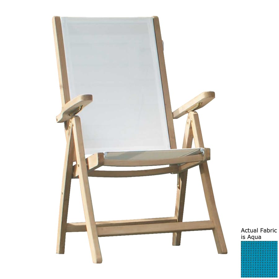 Jewels of Java Aqua Teak Folding Beach Chair