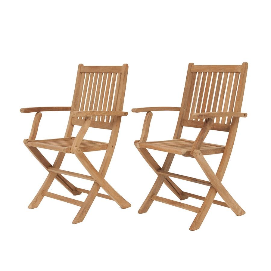 International Home Amazonia Teak 2-Count Teak Folding Patio Dining Chairs