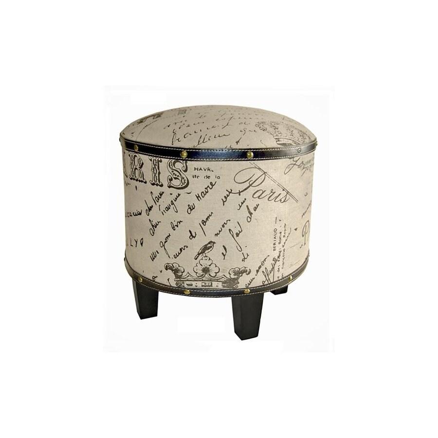 Cheung's Tan/Black Round Ottoman