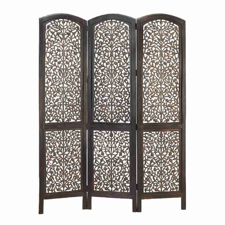 shop woodland imports 3 panel dark walnut wood folding