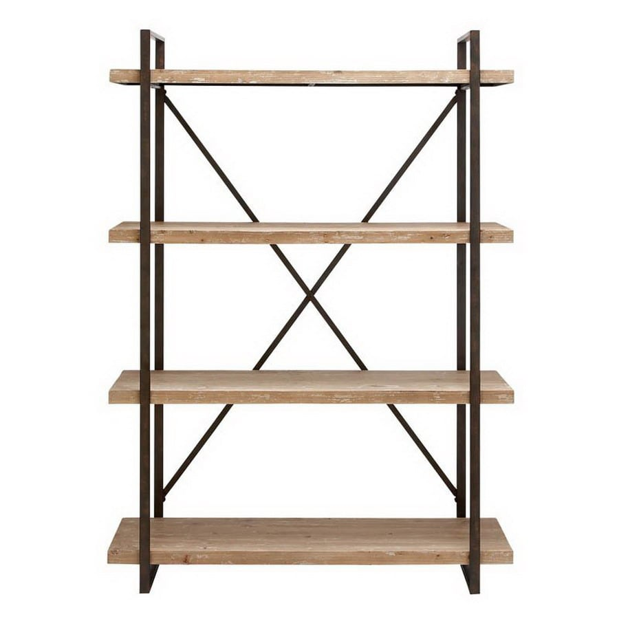 Woodland Imports 67-in H x 47-in W x 14-in D 4-Tier Wood Freestanding Shelving Unit