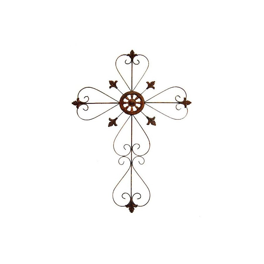 Cheung's 28-in W x 38.25-in H Frameless Metal Cross with Scroll Design Sculptural Wall Art