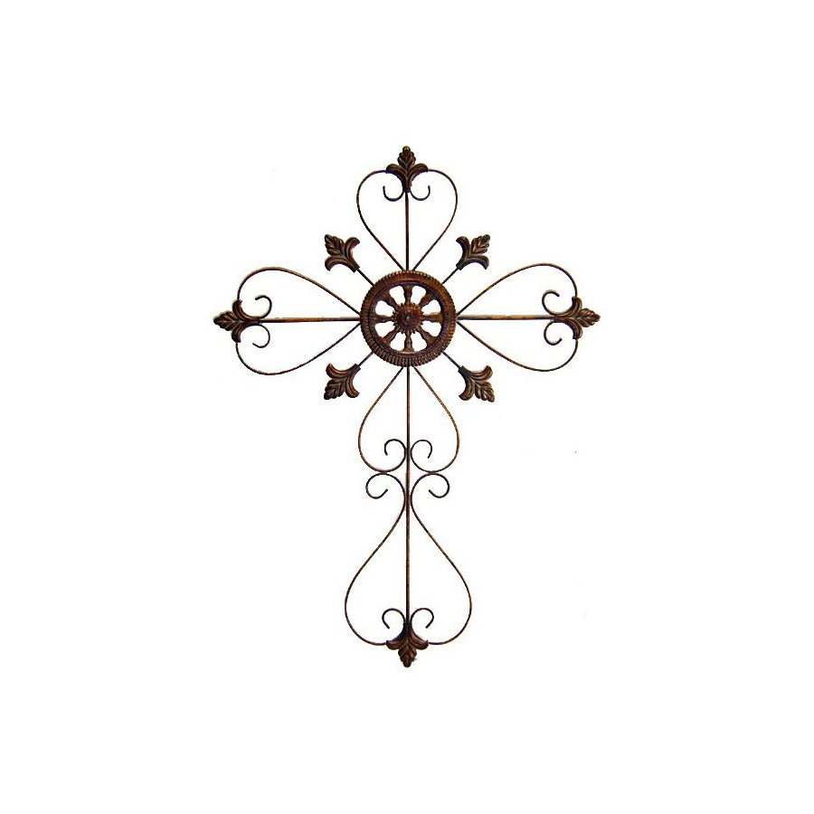 Cheung's 24-in W x 32.5-in H Frameless Metal Cross with Scroll Design Sculptural Wall Art