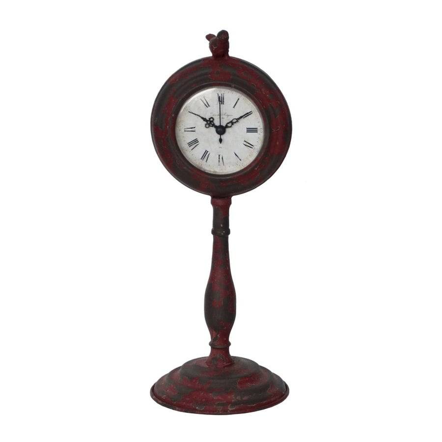 Cheung's Red Analog Round Indoor Tabletop Clock