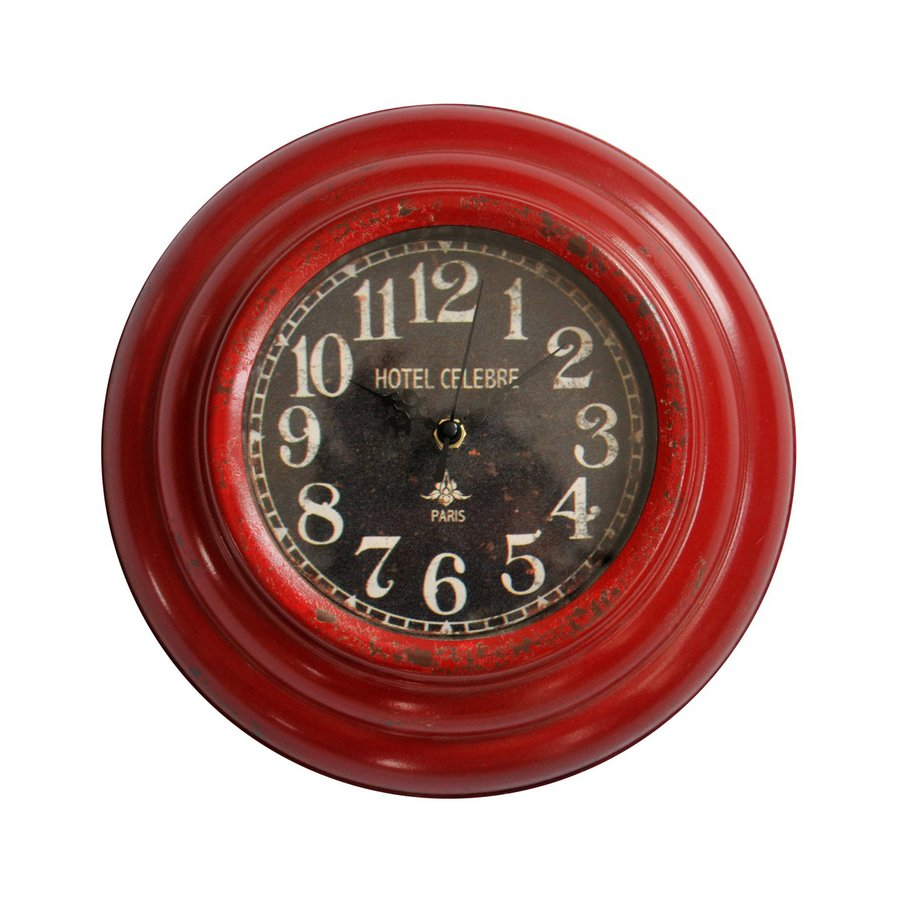 Cheung's Antique Red Analog Round Indoor Wall Clock
