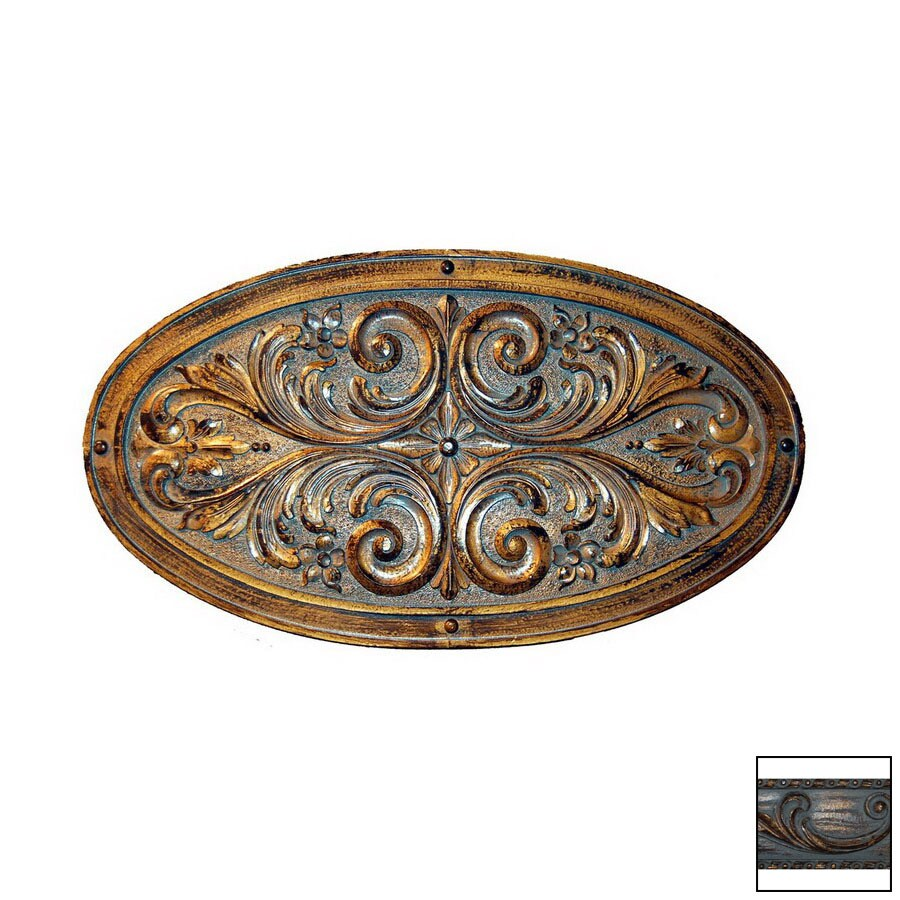 Hickory Manor House 24-in W x 13.5-in H Frameless Oval Floral Leaf Plaque Sculptural Wall Art