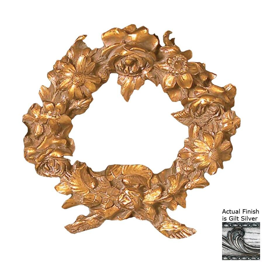 Hickory Manor House Floral Wreath Gilt Silver Resin Curtain Holdbacks
