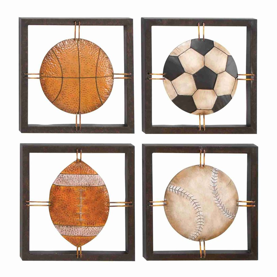 Woodland Imports 4-Piece 14-in W x 14-in H Framed Metal Sports 3D Wall Art