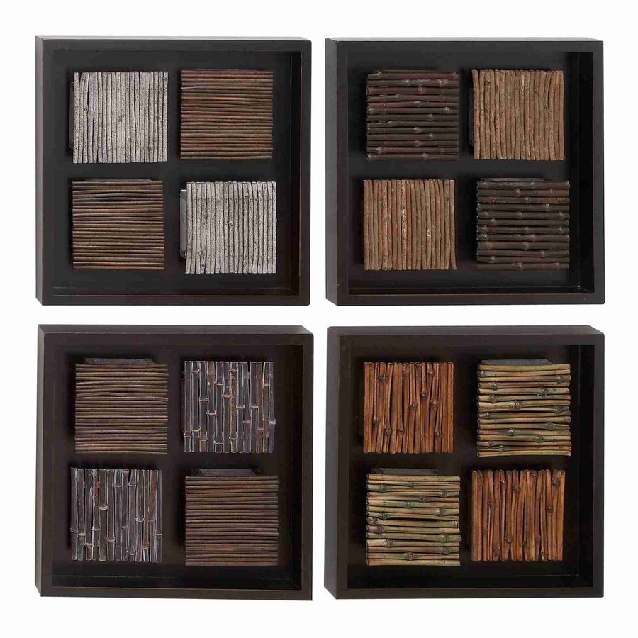 Woodland Imports 4-Piece 16-in W x 16-in H Wood Multicolor Square Frames 3D Wall Art