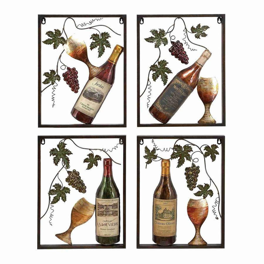 Woodland Imports 4-Piece 14-in W x 18-in H Frameless Metal Wine 3D Wall Art