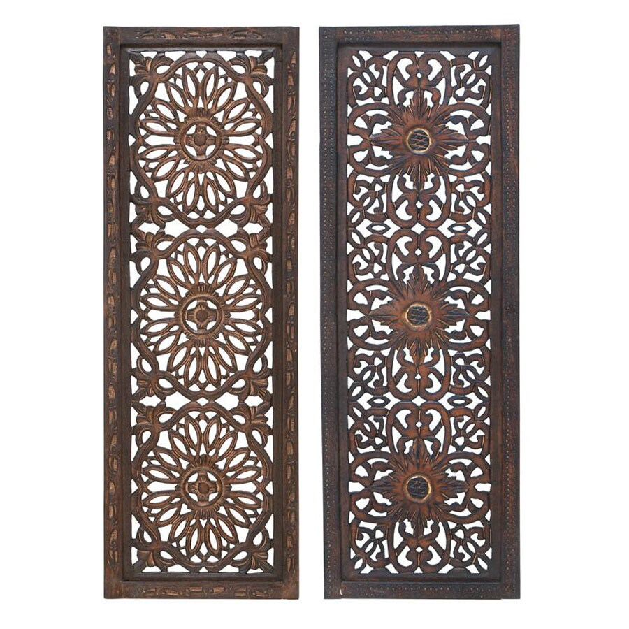 Woodland Imports 2-Piece 12-in W x 36-in H Framed Wood Abstract Sculptural Wall Art