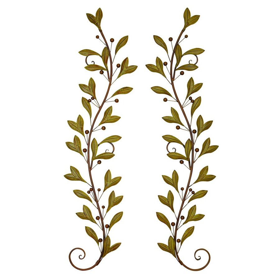 Woodland Imports 2-Piece 14-in W x 60-in H Frameless Metal Vines 3D Wall Art
