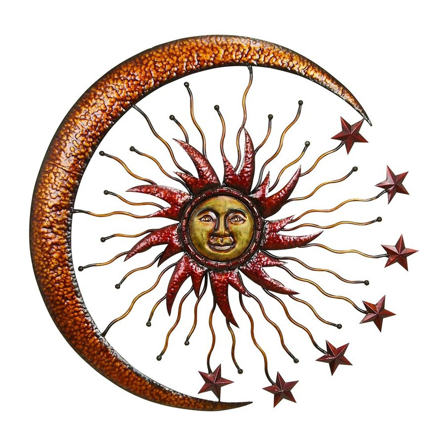Woodland Imports 36-in W x 36-in H Frameless Metal Sun and Moon Sculptural Wall Art