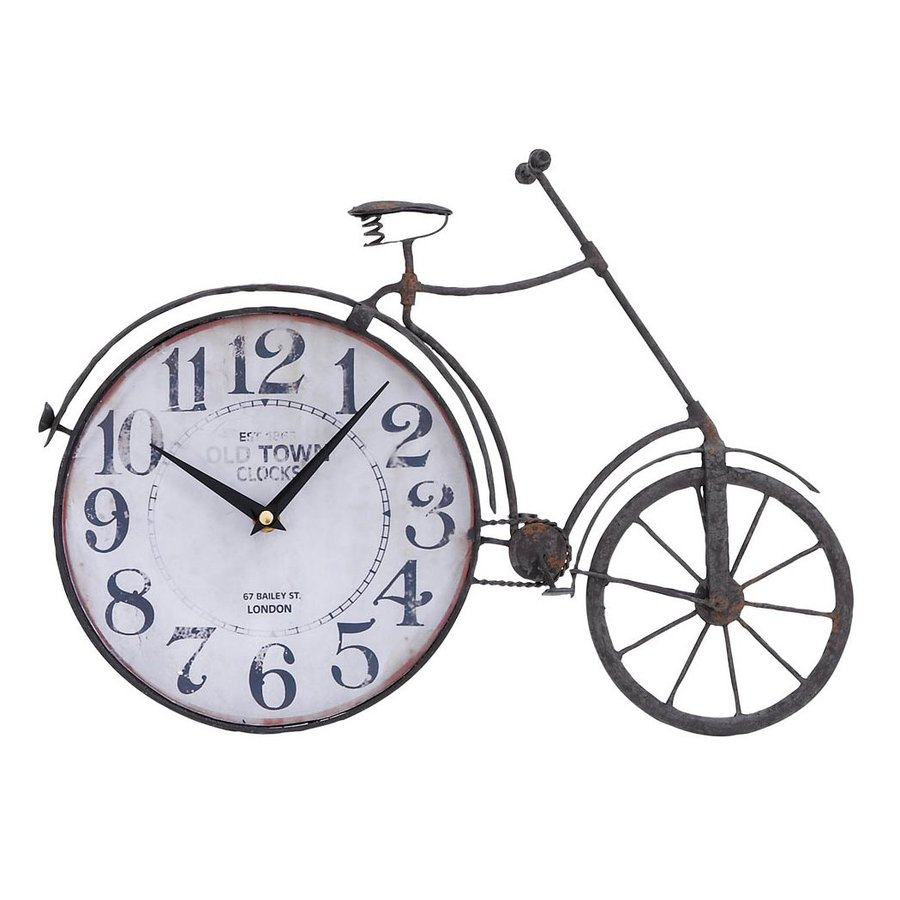 Woodland Imports Metal Bicycle Analog Round Indoor Wall Standard Clock