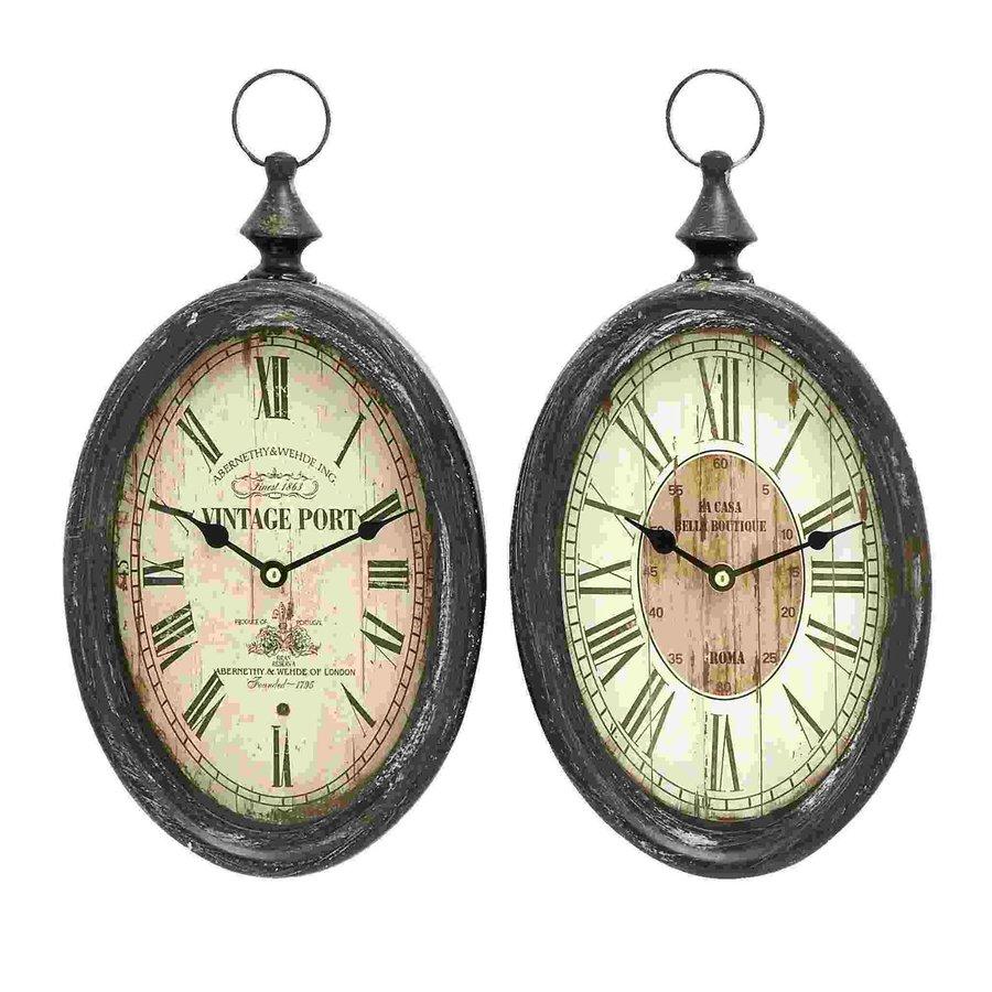 Woodland Imports Set of 2 Sophisticated Analog Round Indoor Wall Standard Clocks