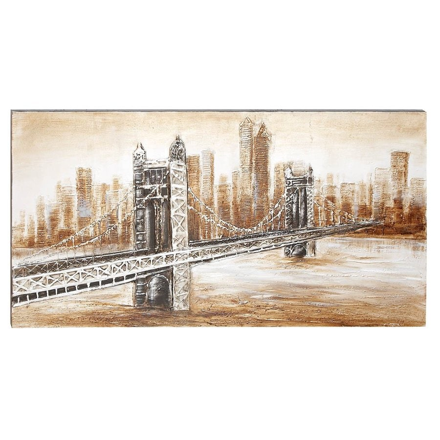 Woodland Imports 55-in W x 28-in H Frameless Canvas Bridge Original Painting Wall Art
