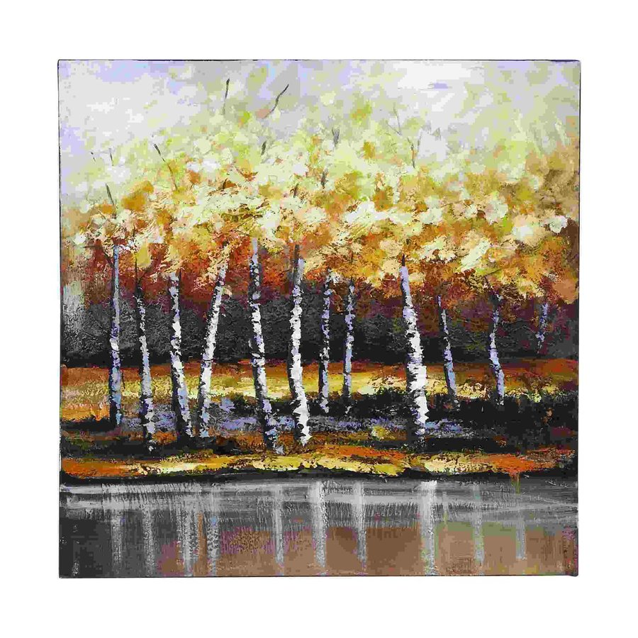 Woodland Imports 24-in W x 24-in H Frameless Canvas Bright Gold Trees Print Wall Art