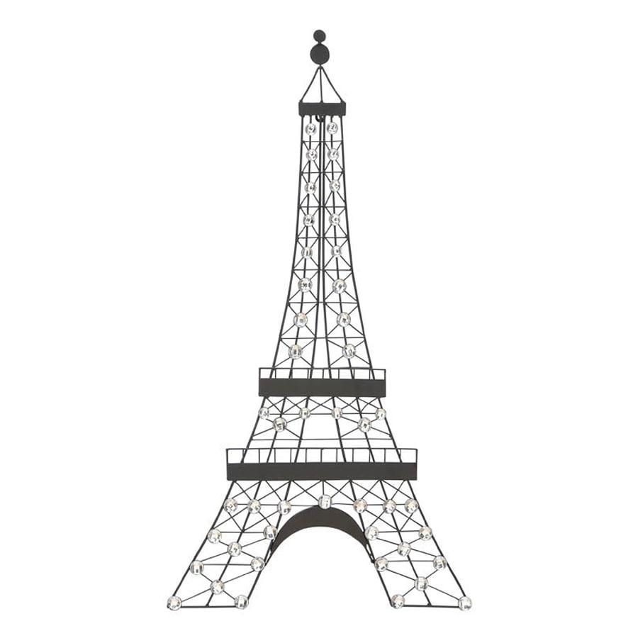 Woodland Imports 18-in W x 32-in H Frameless Metal Eiffel Tower 3D Wall Art