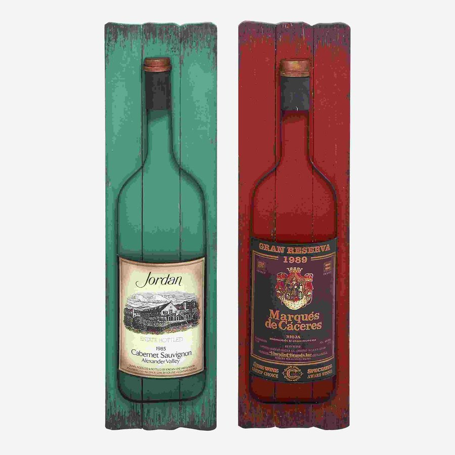 Woodland Imports 2-Piece 10-in W x 39-in H Frameless Wood Wine Label 3D Wall Art
