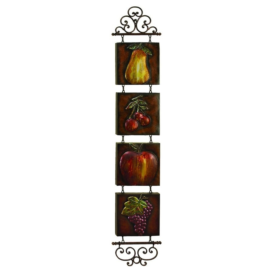 Woodland Imports 12-in W x 60-in H Frameless Metal Fruit Sculptural Wall Art