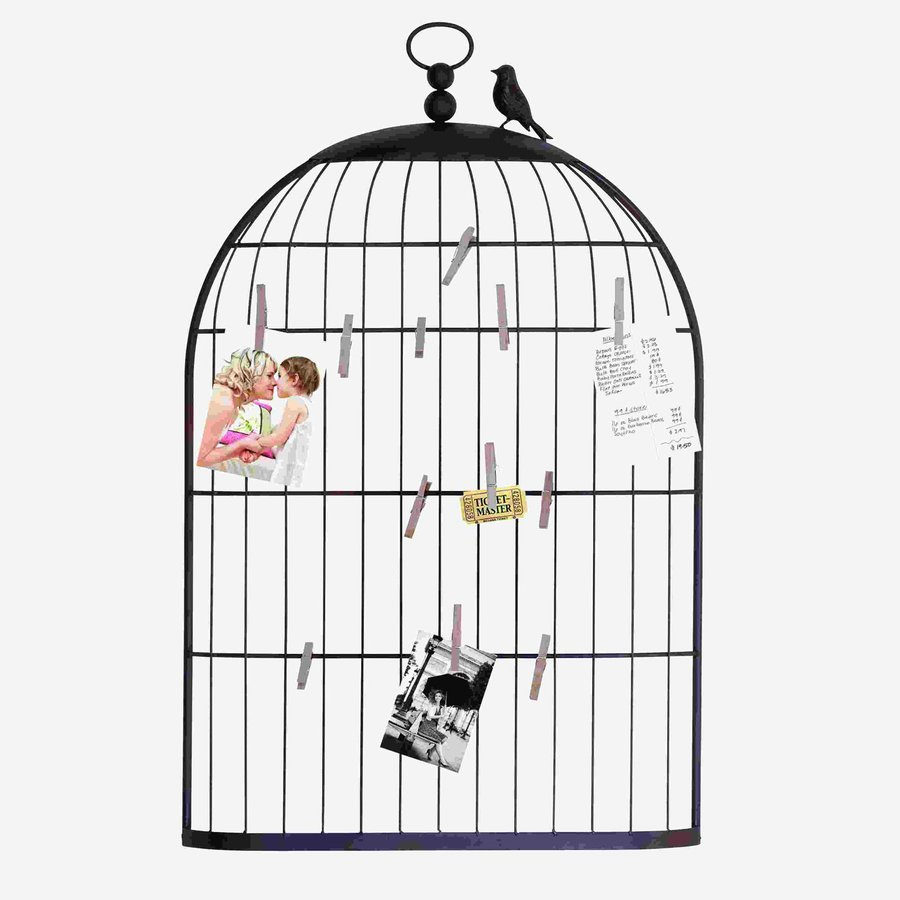 Woodland Imports 22-in W x 35-in H Frameless Metal Bird Cage Photo Holder 3D Wall Art