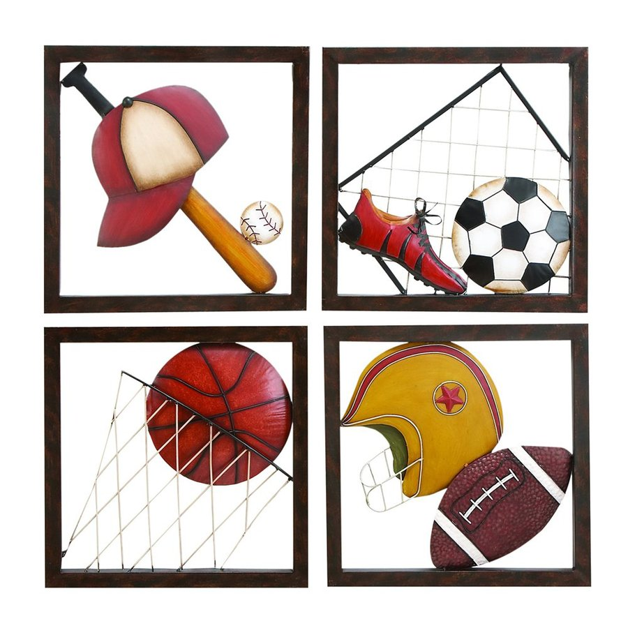 Woodland Imports 4-Piece 16-in W x 16-in H Framed Metal All Star Sports 3D Wall Art