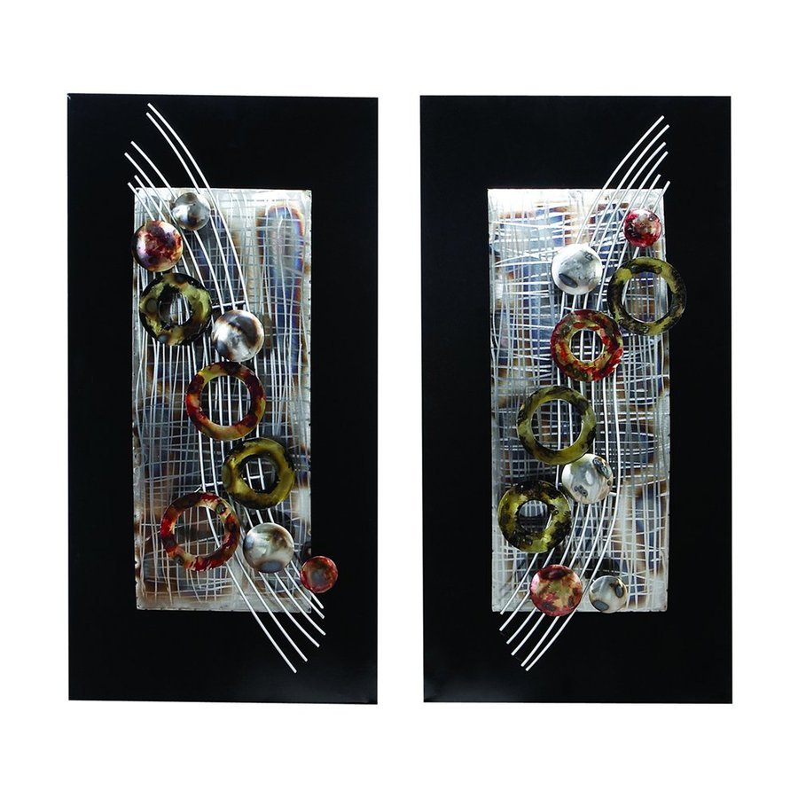 Woodland Imports 2-Piece 16-in W x 32-in H Framed Metal Abstract 3D Wall Art