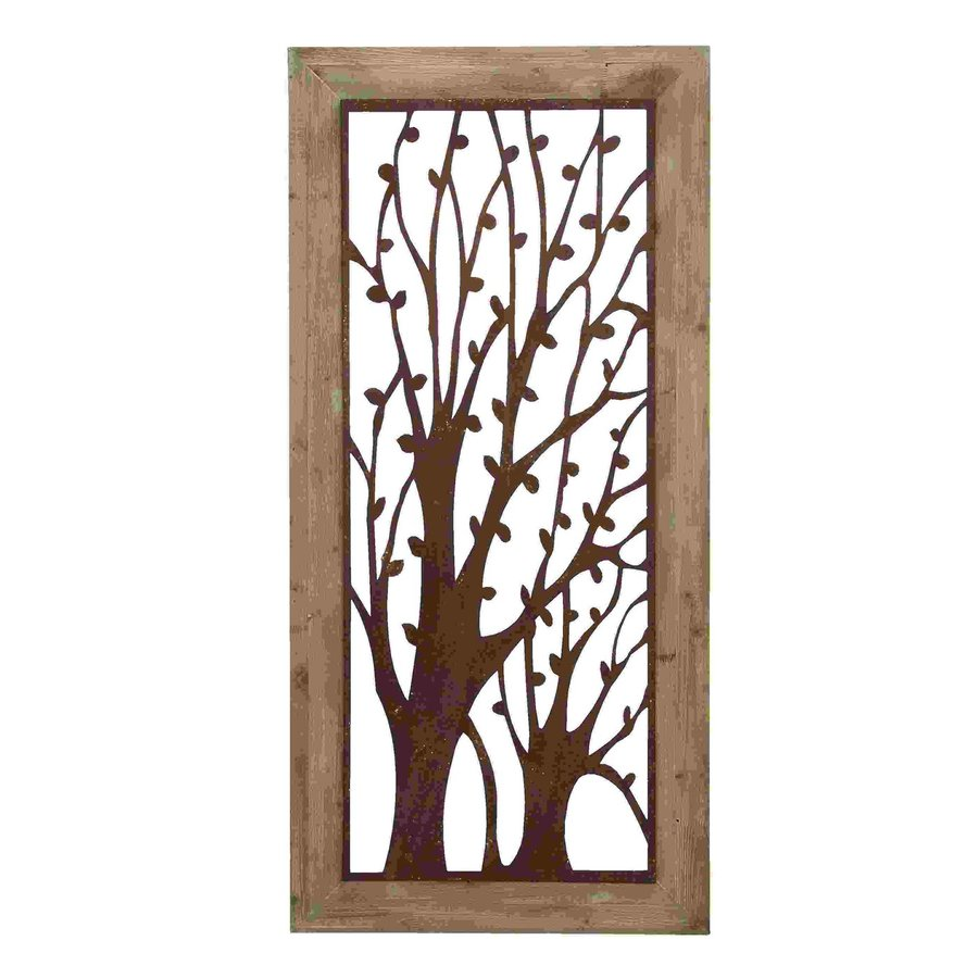 shop woodland imports 26 in w x 56 in h framed metal With kitchen cabinets lowes with metal trees wall art
