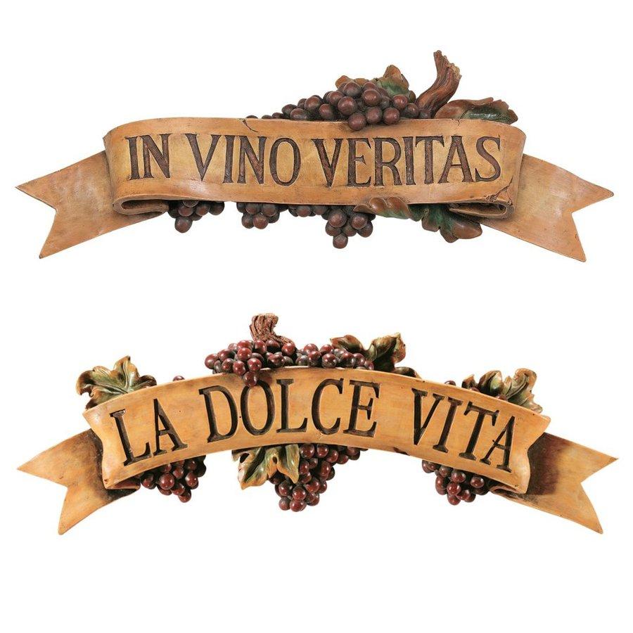 Design Toscano 2-Piece W x H Frameless Resin La Dolce Vita and In Vino Veritas Sign Wall Art
