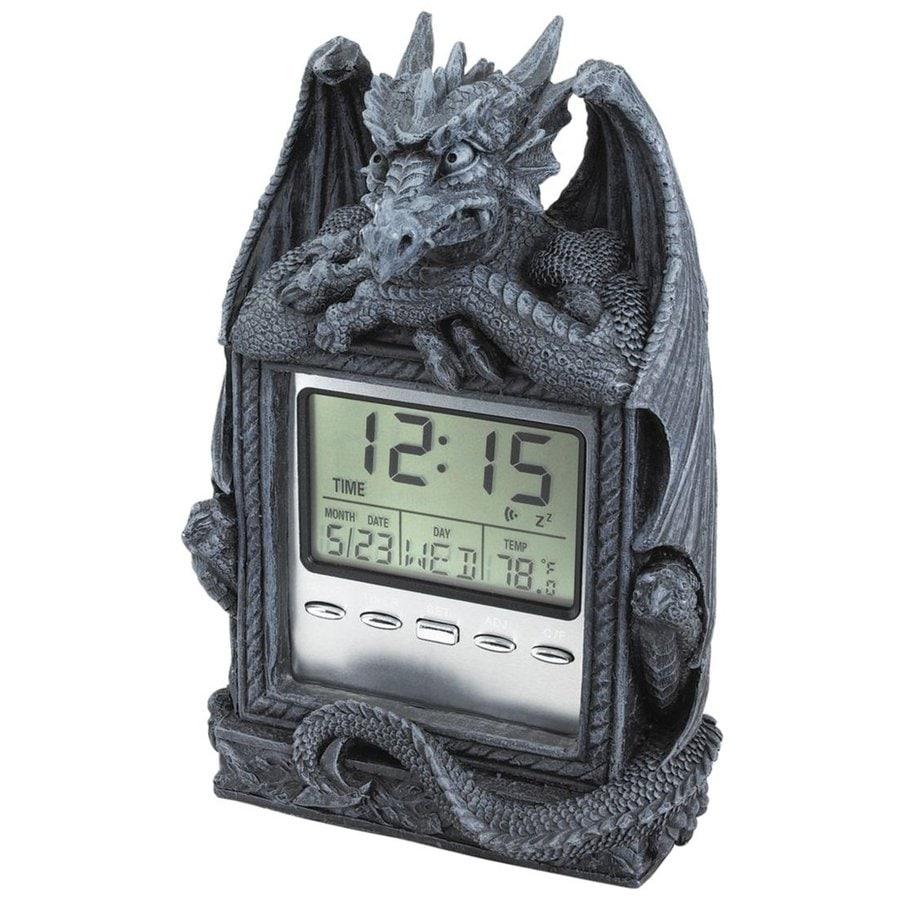 Design Toscano Dragon's Time Digital Rectangle Indoor Tabletop Standard Clock Alarm Included