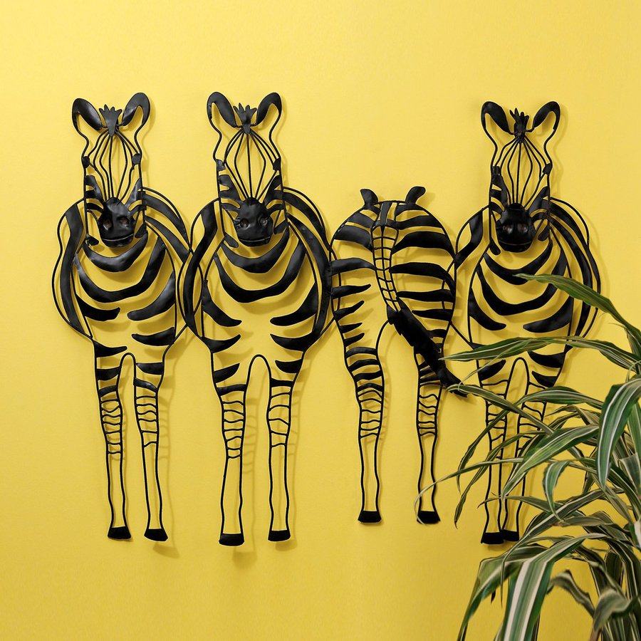 Design Toscano 34-in W x 28-in H Frameless Metal Static Stripes Zebras Sculpture Wall Art