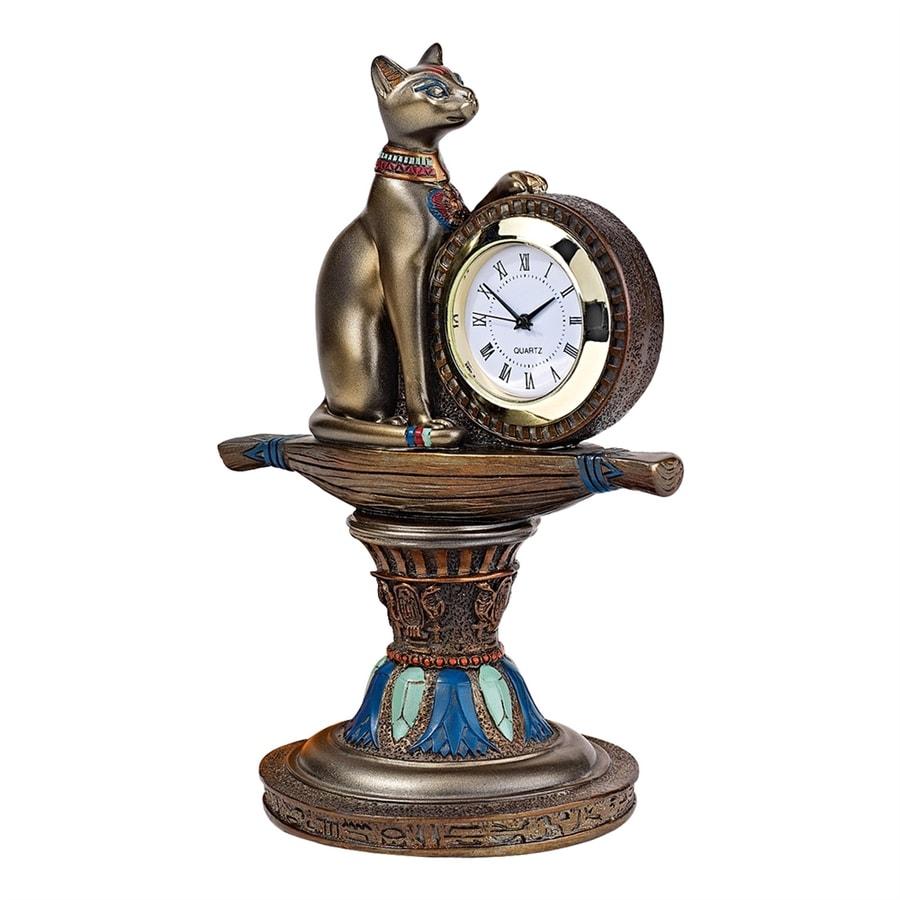 Design Toscano Bastet Analog Round Indoor Tabletop Standard Clock