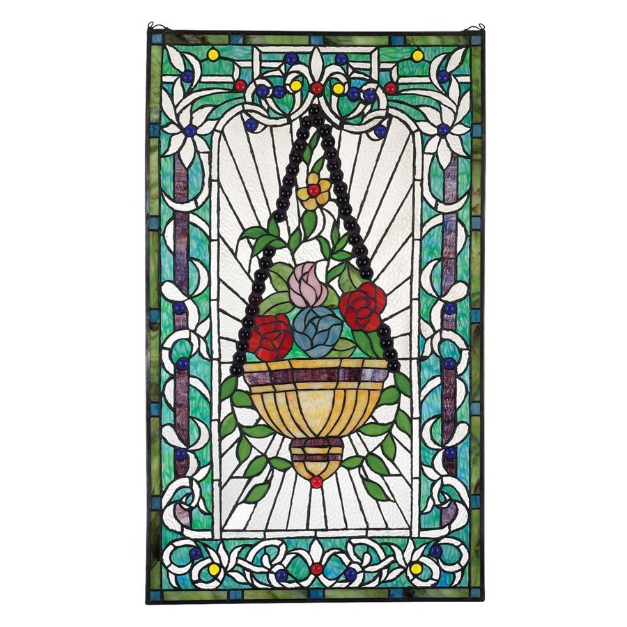Design Toscano 20-in W x 34.5-in H Frameless Glass Le Fenetre Des Fleurs Stained Glass Wall Art