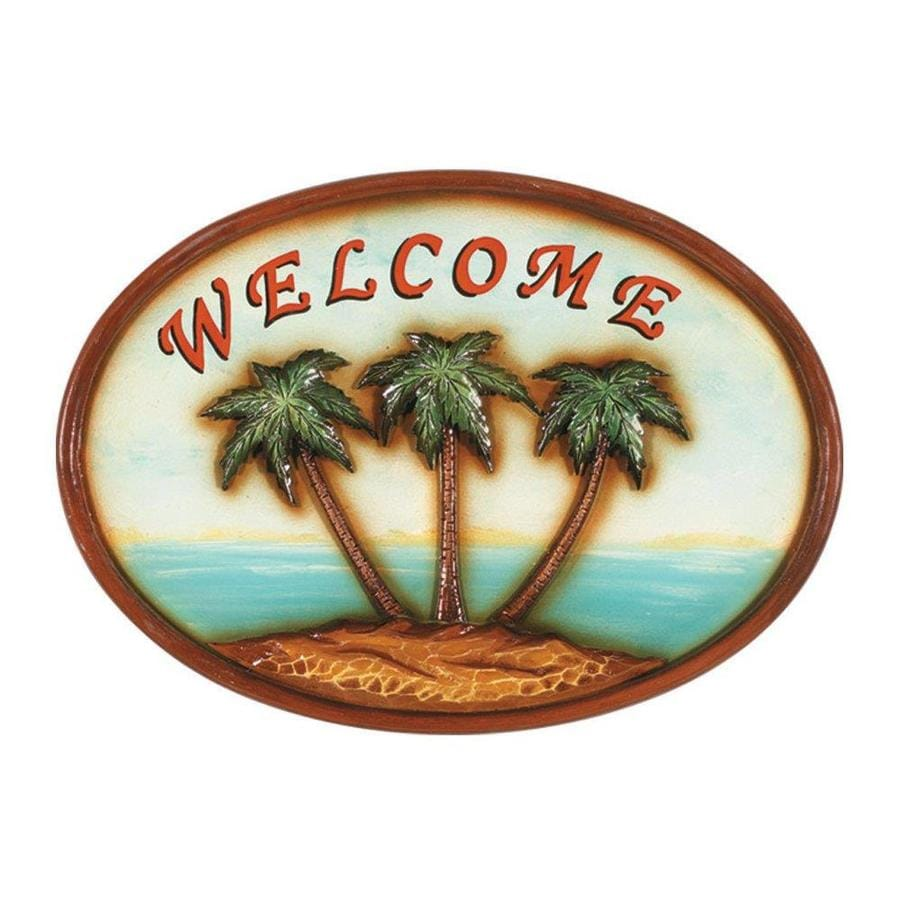 RAM Gameroom Products 17-in W x 12-in H Framed MDF Welcome Palm Trees Sign Wall Art