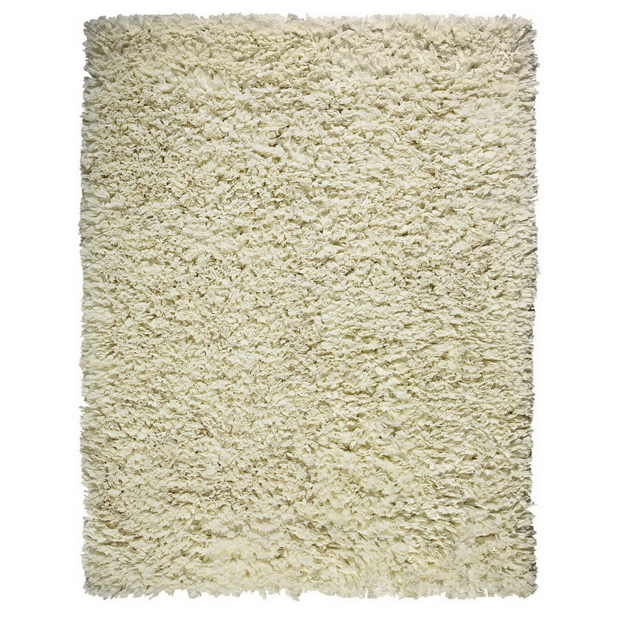 Anji Mountain Paper Shag Rectangular Cream Solid Accent Rug (Common: 3-ft x 5-ft; Actual: 36-in x 60-in)
