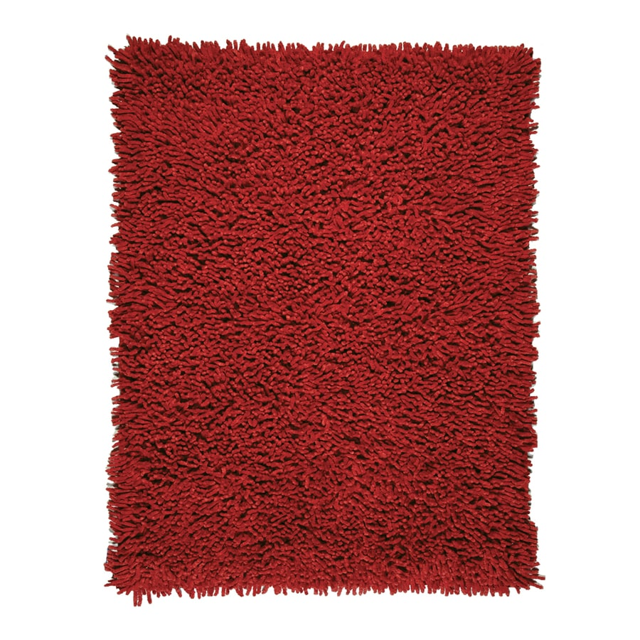 Anji Mountain Silky Shag Crimson Rectangular Indoor Area Rug (Common: 5 x 8; Actual: 60-in W x 96-in L)