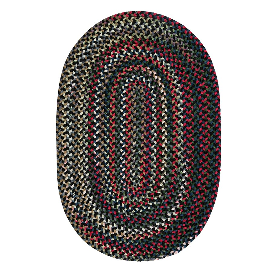Colonial Mills Chestnut Knoll Black Satin Oval Indoor Braided Area Rug (Common: 7 x 9; Actual: 84-in W x 108-in L)