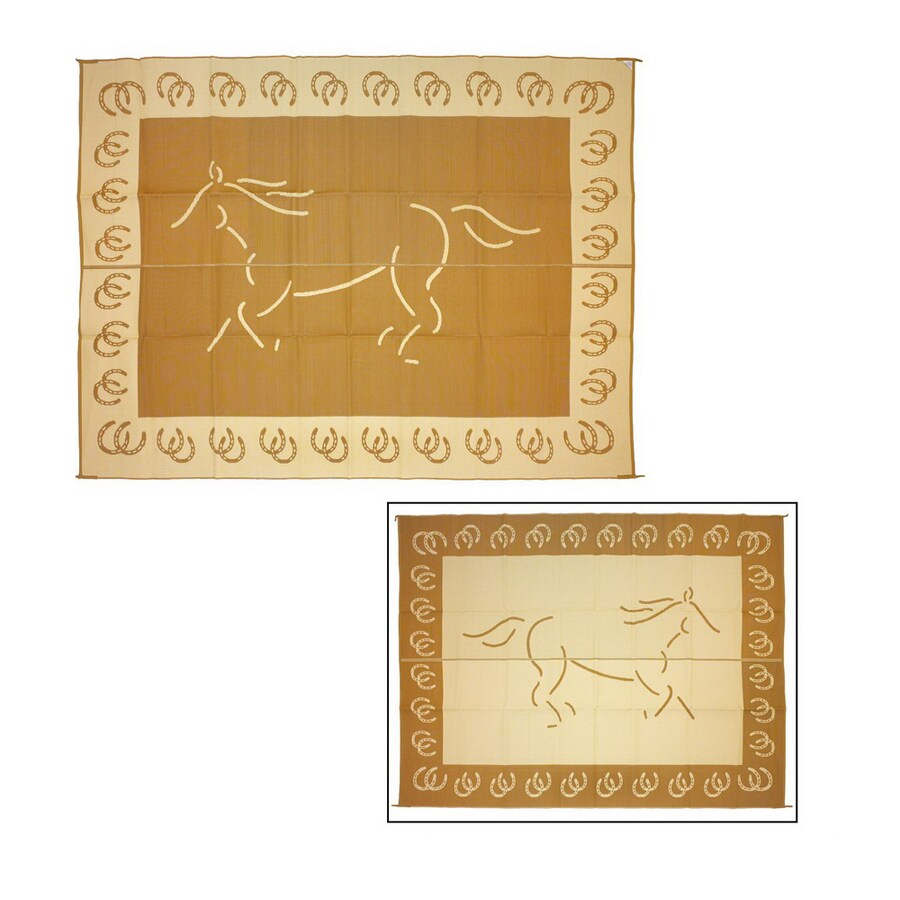 Patio Mats Horse Rectangular Brown Animals Indoor/Outdoor Area Rug (Common: 9-ft x 12-ft; Actual: 9-ft x 12-ft)
