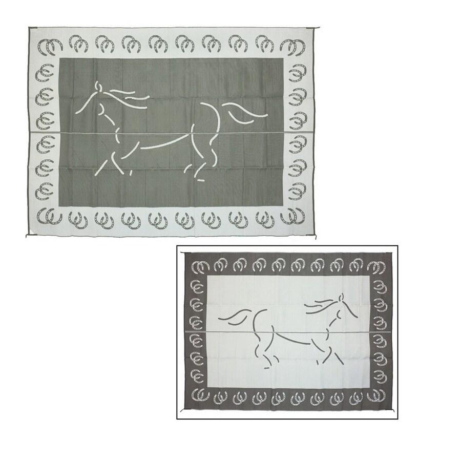 Patio Mats Horse Rectangular Black Animals Indoor/Outdoor Area Rug (Common: 9-ft x 12-ft; Actual: 9-ft x 12-ft)