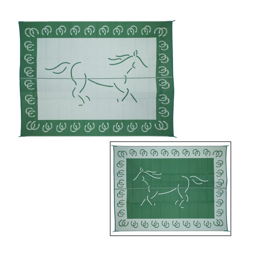 Patio Mats Horse Rectangular Green Animals Indoor/Outdoor Area Rug (Common: 9-ft x 12-ft; Actual: 9-ft x 12-ft)