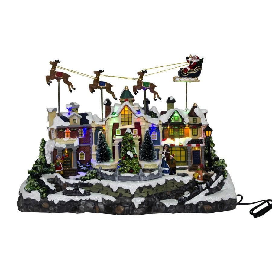 Holiday Living Animatronic Lighted Santa Fly Village Scene