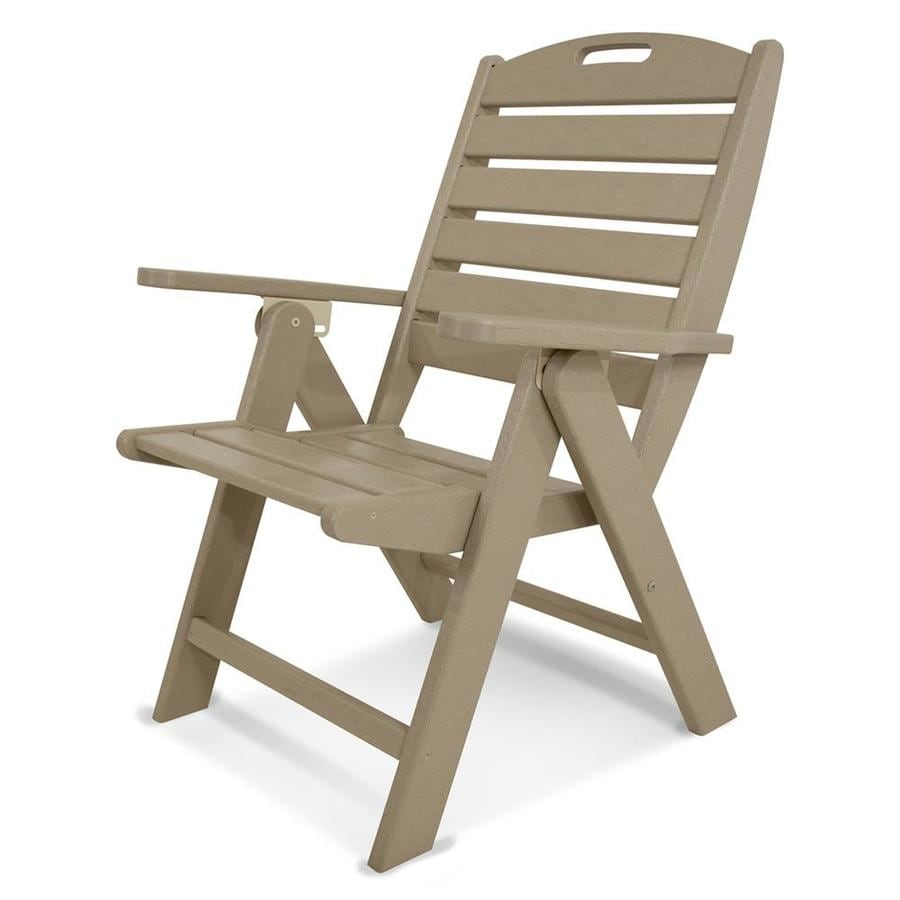 POLYWOOD Nautical Sand Plastic Folding Patio Dining Chair
