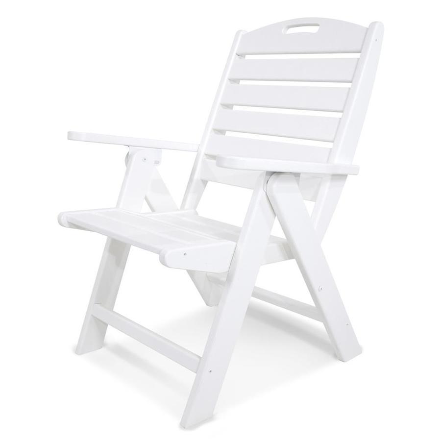 POLYWOOD Nautical White Plastic Folding Patio Dining Chair