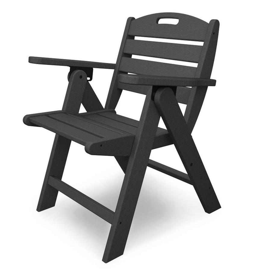POLYWOOD Nautical Slate Grey Plastic Folding Patio Dining Chair