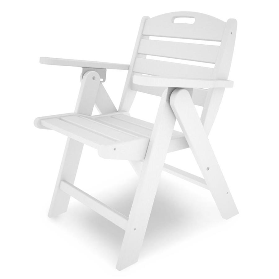 POLYWOOD Nautical White Plastic Folding Patio Dining Chair